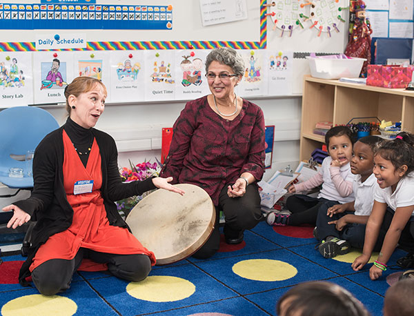 Teaching Artist Laura Schandelmeier shares Wolf Trap techniques  with Ms. Kumar and her class.