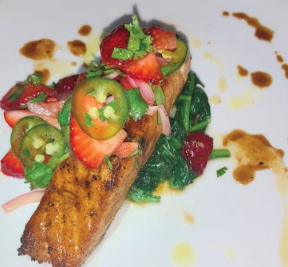 Wolf Trap Honey Balsamic Glaze Seared Salmon With Fresh Seasonal Strawberry Salsa And Garden Spinach